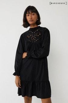 Warehouse Black Cutwork Tiered Mini Dress