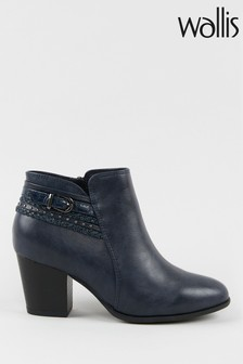 Wallis Wham Navy Buckle Plait Ankle Boots