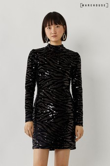 Warehouse Black Zebra Sequin Mini Dress