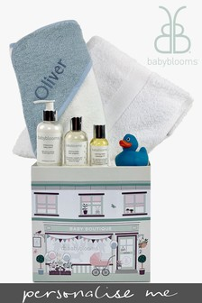 Babyblooms Personalised Blue Baby Bathtime Hamper