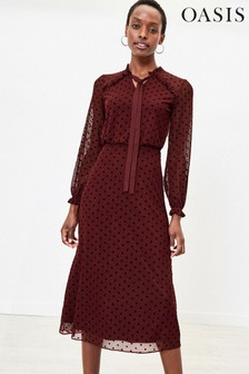 Oasis Red Spot Pussy Bow Midi Dress