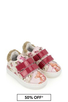 Monnalisa Girls Pink Teddy & Rose Trainers