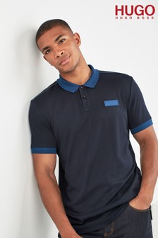 HUGO Dark Blue Long Sleeve Polo