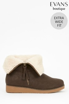 Evans Extra Wide Fit Brown Faux Fur Cuff Wedge Ankle Boots