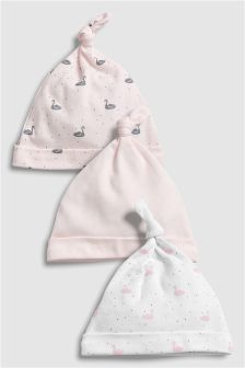 Delicate Swan Tie Top Hats Three Pack (0-18mths)