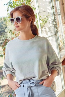 Wide Neck Marl Sweatshirt