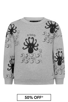 Mini Rodini Kids Grey Octopus Sweater