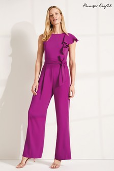 Phase Eight Purple Anasia Frill Jumpsuit