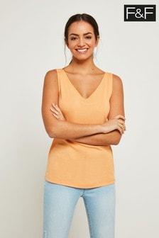 F&F Orange Tencel Ribbed V-Neck Vest