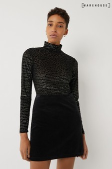 Warehouse Green Velvet Leopard Funnel Neck Jumper