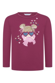 Girls Cherry Cotton Applique T-Shirt
