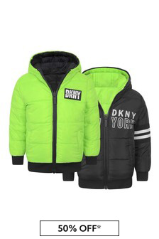 Boys Black/Green Reversible Padded Jacket
