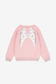 The Little Tailor Pink Sparkle Interactive Sequin Angel Wings Back Jumper