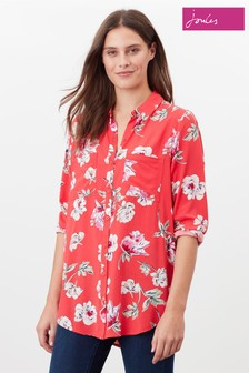 Joules Red Elvina Button Through Blouse