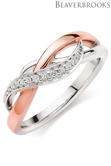 Beaverbrooks 9ct White Gold And Rose Gold Diamond Ring