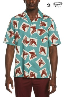 Original Penguin® Blue Horse Print Resort Shirt