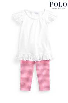 Ralph Lauren White And Pink Gingham Top And Leggings Outfit Set