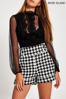 River Island Black And White Bromton Button Structured Shorts