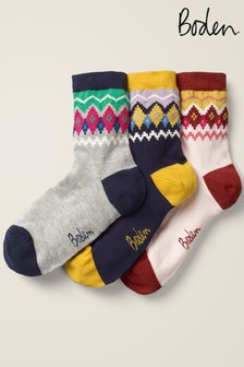 Boden Blue Ankle Socks Three Pack