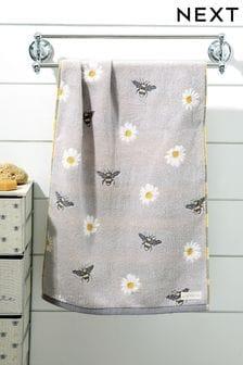 Grey Bee And Daisy Towel