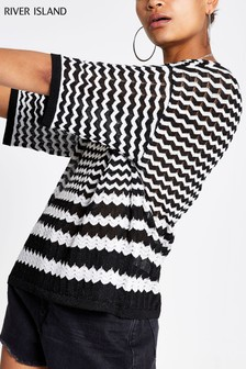 River Island Black Mono Stripe Top