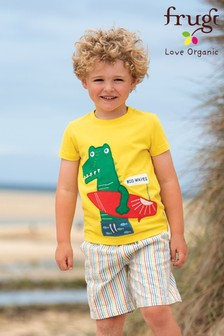 Frugi Red GOTS Organic Rainbow Seersucker Shorts