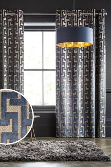 Navy Blue Collection Luxe Fretwork Velvet Eyelet Lined Curtains