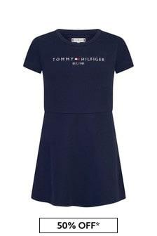 Tommy Hilfiger Girls Navy Cotton Dress