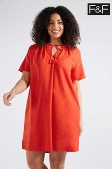 F&F Red Linen Blend Tunic