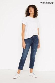 White Stuff Mid Denim Straight Embroidered Crop Jeans