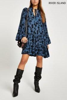 River Island Blue Print Albert Tiered Smock Mini Dress