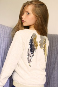The Little Tailor Gold Sparkle Interactive Sequin Angel Wings Back Jumper