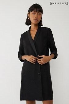 Warehouse Black Oversized Tuxedo Mini Dress