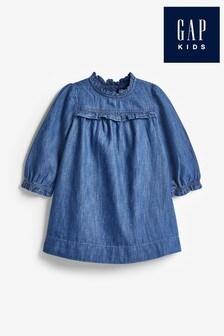 Gap Dark Denim Ruffle Dress