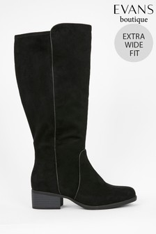 Evans Extra Wide Fit Black Stretch High Leg Boots
