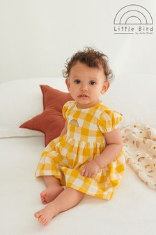 Little Bird Organic Cotton Gingham Dress And Knickers Set