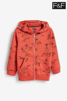 F&F Orange Dino Print Zip Through Hoody