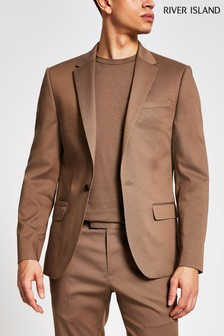 River Island Beige Skinny Suit Jacket