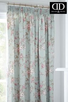 D&D Saskia Vintage Floral Pencil Pleat Curtains