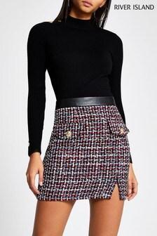 River Island Navy Bouclé Edna Mini Skirt