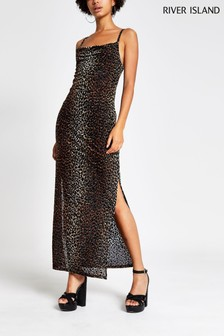 River Island Brown Print Roger Cowl Devoré Maxi Dress