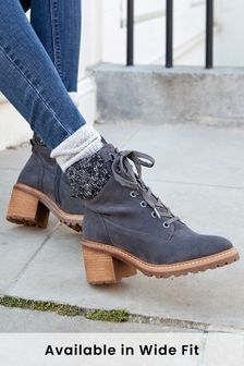 Forever Comfort Knit Top Lace-Up Boots