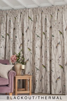 Chinoiserie Bird Trail Country Luxe Pencil Pleat Blackout/Thermal Curtains