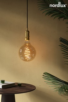 Spiral Deco Globe Gold Finish 85W E27 Bulb by Nordlux