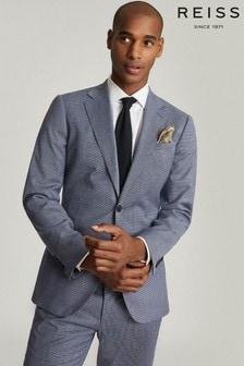 Reiss Blue Ben Puppytooth Check Slim Fit Blazer