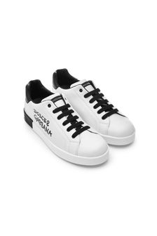 Dolce & Gabbana Kids Girls White Leather Trainers