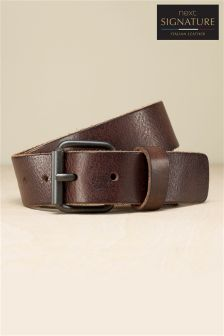 Signature Italian Leather Raw Edge Belt