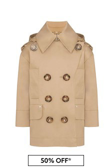 Girls Beige Cotton Trench Coat