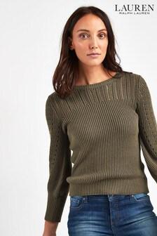 Lauren Ralph Lauren® Olive Linen Blend Jumper