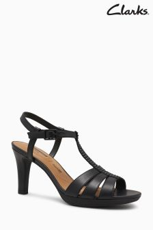 Clarks Black Bay Blossom T-Bar Jewel Heeled Sandal